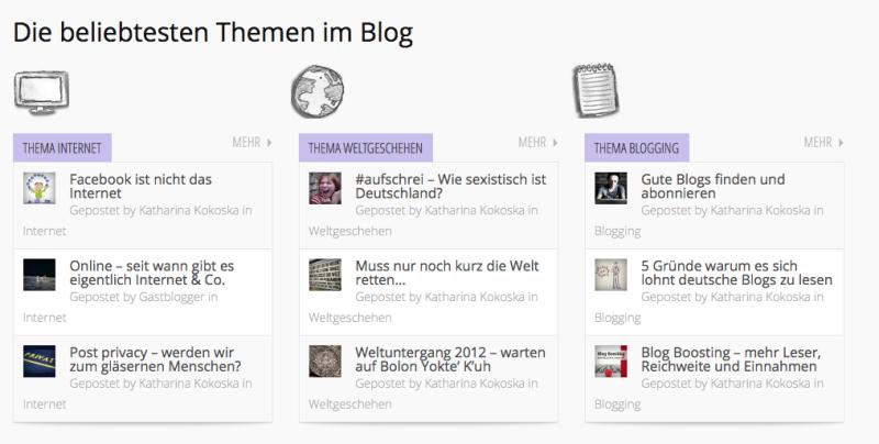 Neu auf der Startseite: die beliebtesten Blog-Themen